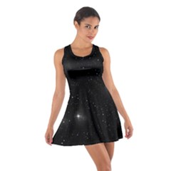 Starry Galaxy Night Black And White Stars Cotton Racerback Dress