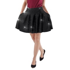 Starry Galaxy Night Black And White Stars A Line Pocket Skirt