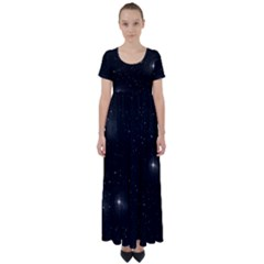 Starry Galaxy Night Black And White Stars High Waist Short Sleeve Maxi Dress