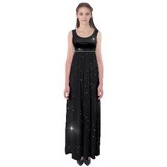 Starry Galaxy Night Black And White Stars Empire Waist Maxi Dress