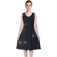 Starry Galaxy Night Black And White Stars V Neck Midi Sleeveless Dress