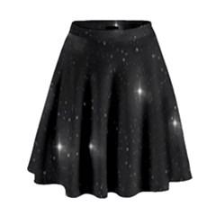 Starry Galaxy Night Black And White Stars High Waist Skirt