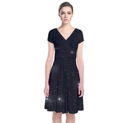 Starry Galaxy Night Black And White Stars Short Sleeve Front Wrap Dress