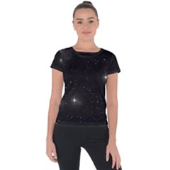 Starry Galaxy Night Black And White Stars Short Sleeve Sports Top