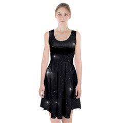 Starry Galaxy Night Black And White Stars Racerback Midi Dress
