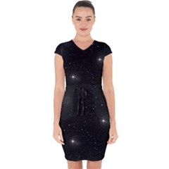 Starry Galaxy Night Black And White Stars Capsleeve Drawstring Dress