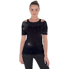Starry Galaxy Night Black And White Stars Short Sleeve Top