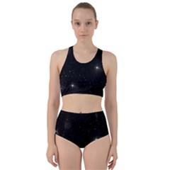 Starry Galaxy Night Black And White Stars Racer Back Bikini Set