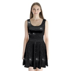 Starry Galaxy Night Black And White Stars Split Back Mini Dress