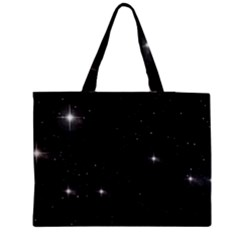 Starry Galaxy Night Black And White Stars Zipper Medium Tote Bag