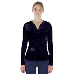 Starry Galaxy Night Black And White Stars V Neck Long Sleeve Top
