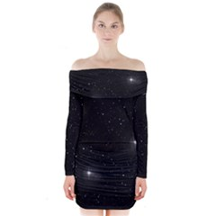 Starry Galaxy Night Black And White Stars Long Sleeve Off Shoulder Dress