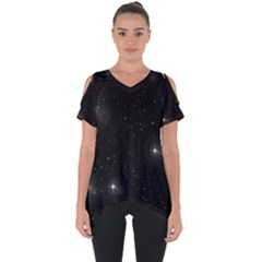 Starry Galaxy Night Black And White Stars Cut Out Side Drop Tee