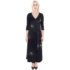 Starry Galaxy Night Black And White Stars Quarter Sleeve Wrap Maxi Dress