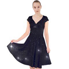 Starry Galaxy Night Black And White Stars Cap Sleeve Front Wrap Midi Dress
