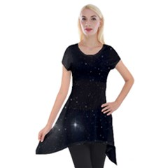 Starry Galaxy Night Black And White Stars Short Sleeve Side Drop Tunic