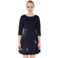 Starry Galaxy Night Black And White Stars Smock Dress