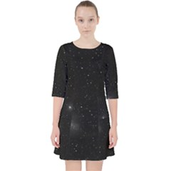 Starry Galaxy Night Black And White Stars Pocket Dress
