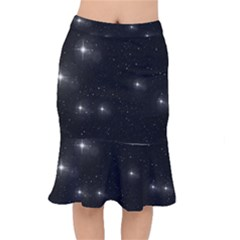 Starry Galaxy Night Black And White Stars Mermaid Skirt