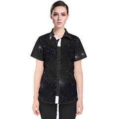 Starry Galaxy Night Black And White Stars Women s Short Sleeve Shirt
