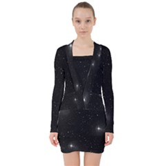 Starry Galaxy Night Black And White Stars V Neck Bodycon Long Sleeve Dress
