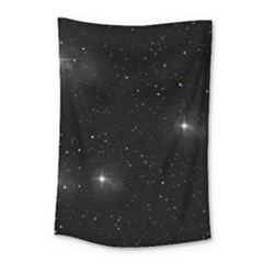 Starry Galaxy Night Black And White Stars Small Tapestry