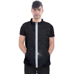 Starry Galaxy Night Black And White Stars Men s Puffer Vest