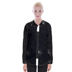 Starry Galaxy Night Black And White Stars Womens Long Sleeve Shirt