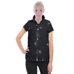 Starry Galaxy Night Black And White Stars Women s Button Up Puffer Vest