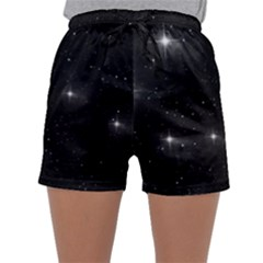 Starry Galaxy Night Black And White Stars Sleepwear Shorts