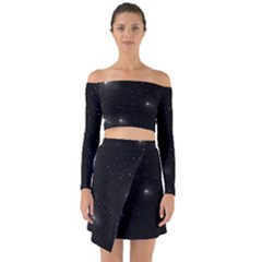 Starry Galaxy Night Black And White Stars Off Shoulder Top With Skirt Set