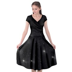 Starry Galaxy Night Black And White Stars Cap Sleeve Wrap Front Dress