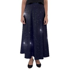 Starry Galaxy Night Black And White Stars Flared Maxi Skirt