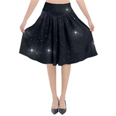 Starry Galaxy Night Black And White Stars Flared Midi Skirt