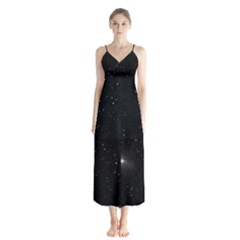 Starry Galaxy Night Black And White Stars Button Up Chiffon Maxi Dress