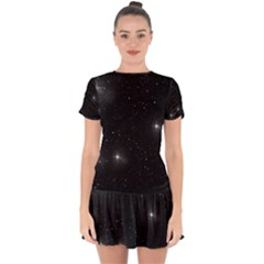 Starry Galaxy Night Black And White Stars Drop Hem Mini Chiffon Dress