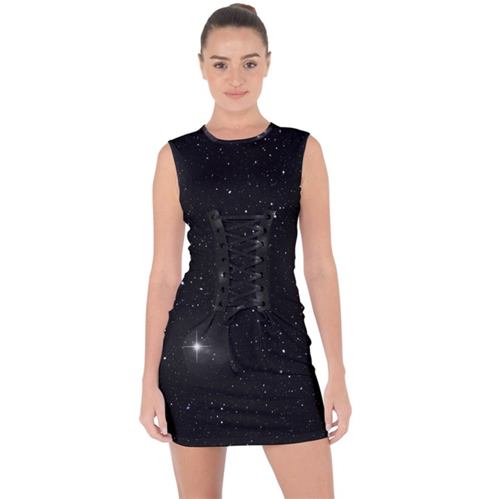 Starry Galaxy Night Black and White Stars Lace Up Front Bodycon Dress