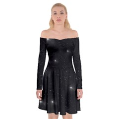 Starry Galaxy Night Black And White Stars Off Shoulder Skater Dress
