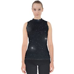 Starry Galaxy Night Black And White Stars Shell Top