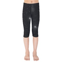 Starry Galaxy Night Black And White Stars Kids  Capri Leggings