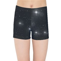 Starry Galaxy Night Black And White Stars Kids Sports Shorts