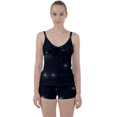 Starry Galaxy Night Black And White Stars Tie Front Two Piece Tankini