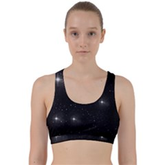 Starry Galaxy Night Black And White Stars Back Weave Sports Bra