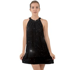 Starry Galaxy Night Black And White Stars Halter Tie Back Chiffon Dress