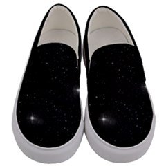 Starry Galaxy Night Black And White Stars Men s Canvas Slip Ons