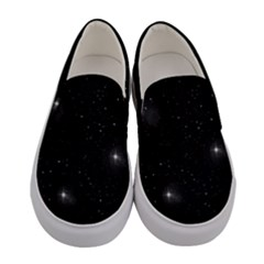 Starry Galaxy Night Black And White Stars Women s Canvas Slip Ons