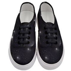 Starry Galaxy Night Black And White Stars Women s Classic Low Top Sneakers