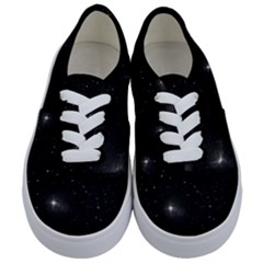Starry Galaxy Night Black And White Stars Kids  Classic Low Top Sneakers