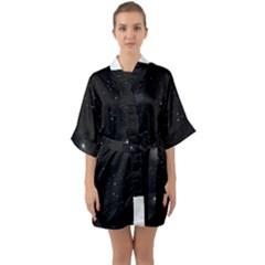 Starry Galaxy Night Black And White Stars Quarter Sleeve Kimono Robe