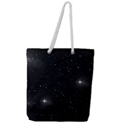 Starry Galaxy Night Black And White Stars Full Print Rope Handle Tote (large)